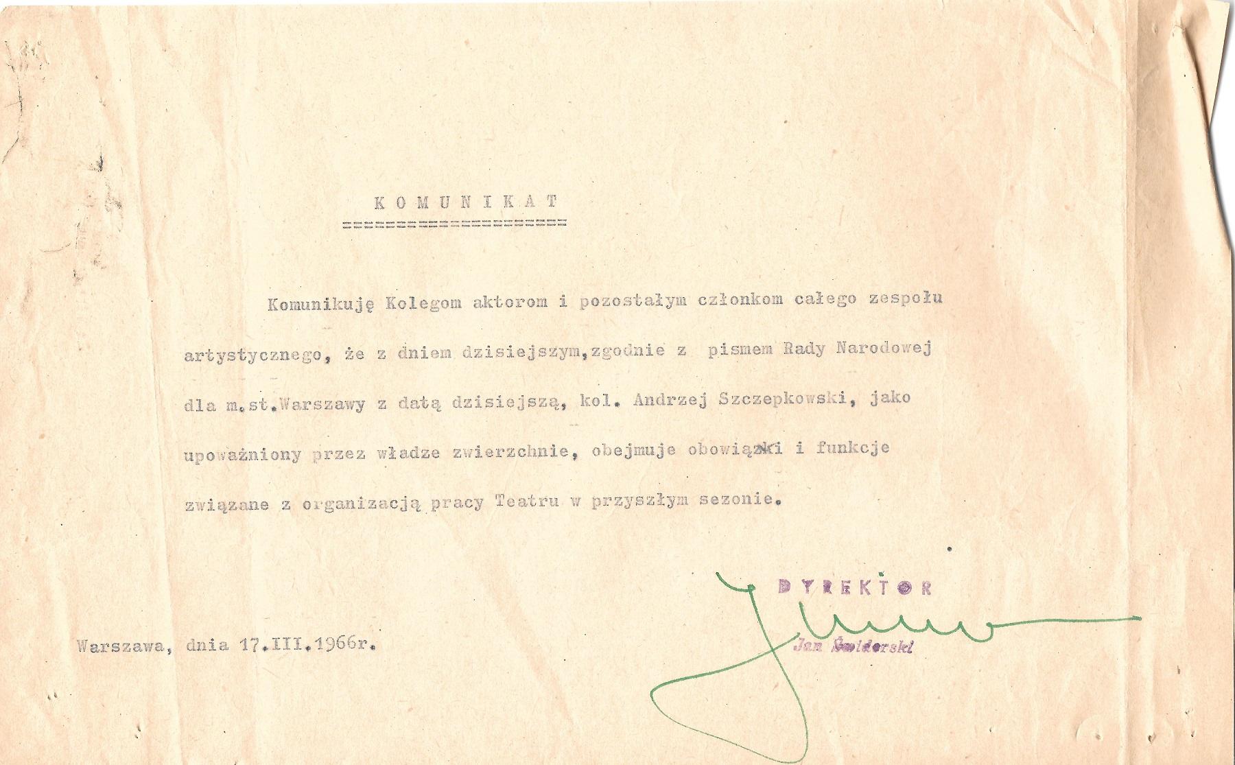 Dokument z archiwum zakładowego Teatru Dramatycznego