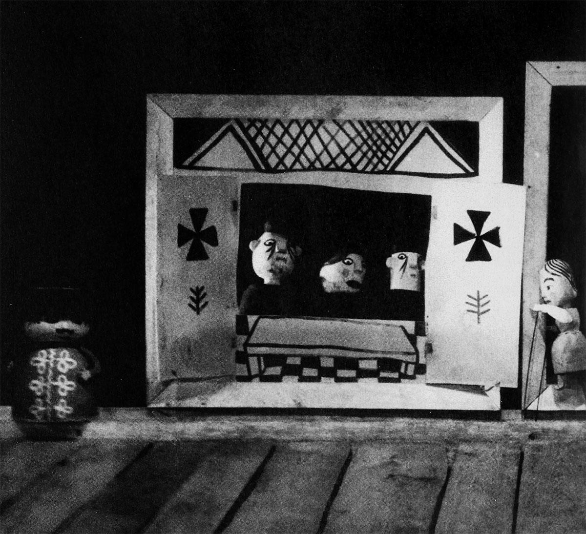 """""""O Zwyrtale muzykancie, czyli jak góral dostał się do nieba"""", reż. Jan Wilkowski, scen. Adam Kilian, Teatr Lalka, Warszawa, prem. 23 grudnia 1958."""