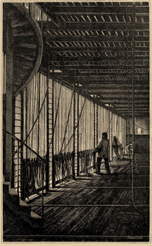 """Galeria na pierwszej kondygnacji nadscenia Opery paryskiej podczas przedstawienia. Źródło: J. Moynet, """"L'envers du théâtre. Machines et décorations"""", Paris 1888."""